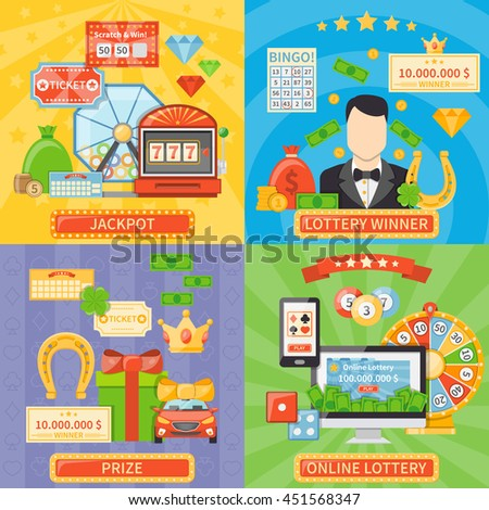 Lottery stock images royalty free images vectors shutterstock lottery 2x2 design concept set of online lottery and jackpot compositions and prize and winner flat sciox Images