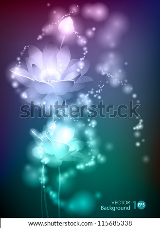 Lotus. Abstract glowing background. Vector eps 10. - stock vector