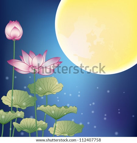 Lotus and Moon at Night, The Mid-Autumn festival - stock vector