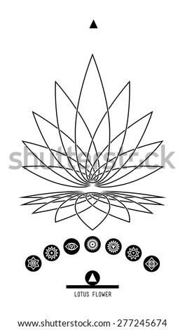 Lotus and seven chakras. Buddhist Hindu tantric symbol  harmony and balance cosmos and the universe. Used in the design tattoo typography logos badges corporate identity  poster yoga Ayurvedic - stock vector