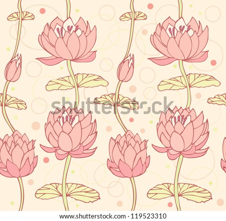 Lotus background. Floral pattern with water lilies. Seamless lace backdrop can be used for crafts, arts, wallpapers, web pages, surface texture, prints, textile - stock vector