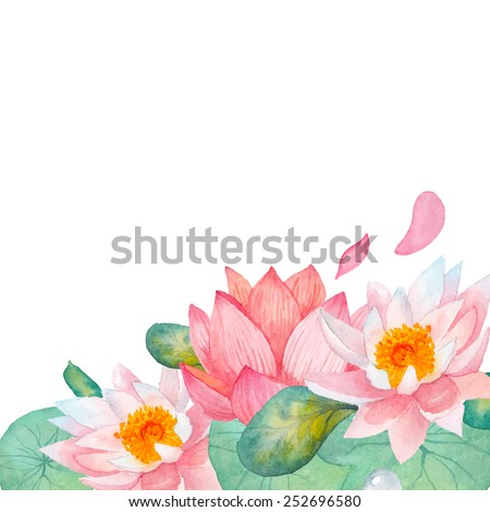 Lotus border. Hand drawn watercolor oriental nature illustration. Artistic lily flowers and leaves background in vector - stock vector