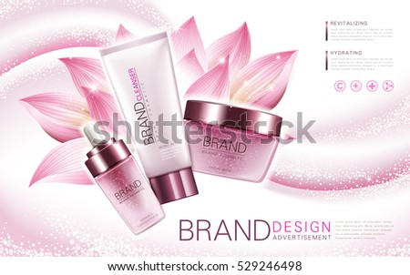 lotus essence, cleanser and facial mask product, with flower element and pink background, 3d illustration