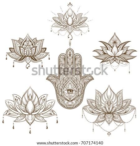 Lotus flower hamsa set vector boho stock vector 707174140 shutterstock lotus flower and hamsa set vector boho style yoga india sketch mightylinksfo