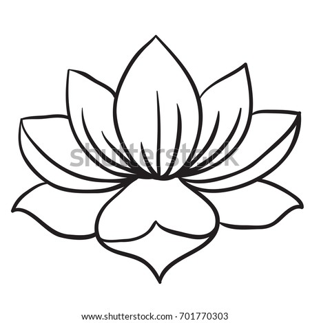 Lotus flower black and white cartoon illustration isolated on white