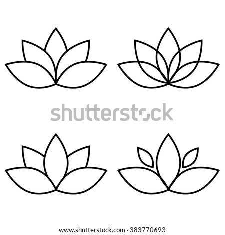 Lotus flower black set element vector.