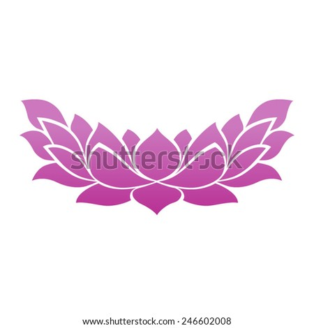 Lotus flower blossom tattoo icon for zen yoga spa and meditation - stock vector