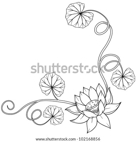 Lotus flower curly frame corner with leaves. Isolated monochrome vector illustration with no background. Cool for tattoos.