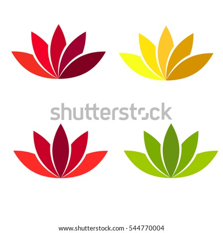 Lotus flower different color. Vector element