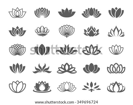 Lotus flower icon - stock vector