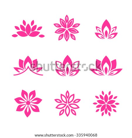 Lotus flower icons - stock vector