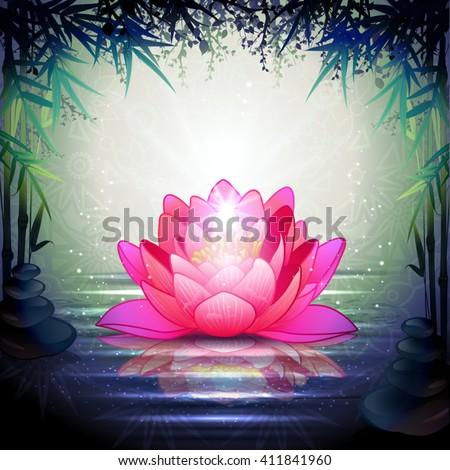 Lotus Flower in Tranquil Zen Garden - stock vector