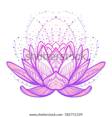 lotus flower intricate stylized linear drawing stock vector, Beautiful flower
