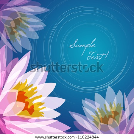 Lotus flower lake background, vector - stock vector