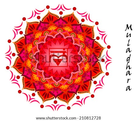 Lotus flower of Muladhara chakra - stock vector