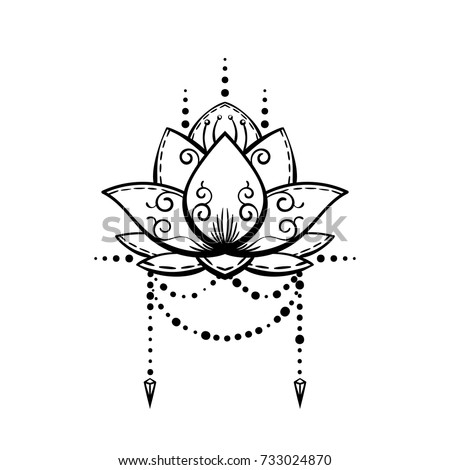 Lotus flower tattoo hand drawn isolated stock vector 733024870 lotus flower tattoo hand drawn isolated vector magic symbol design element mightylinksfo