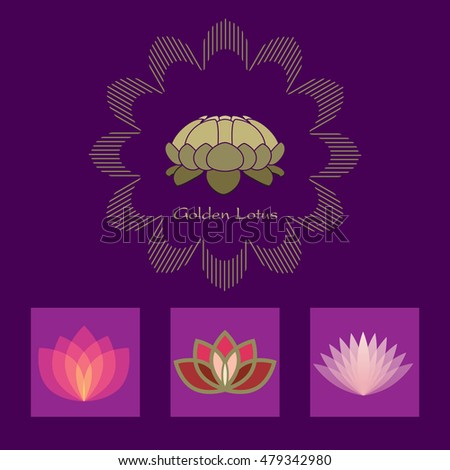 Lotus flower vector icon set design stock vector royalty free lotus flower vector icon set design template for alternative medicine yoga club beauty industry mightylinksfo