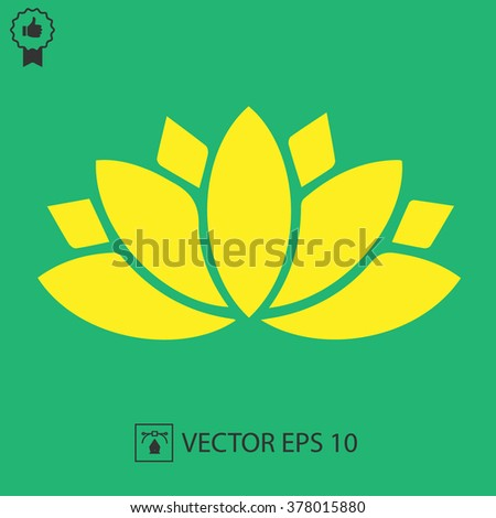 Lotus flower vector icon. Spiritual simple silhouette symbol. - stock vector