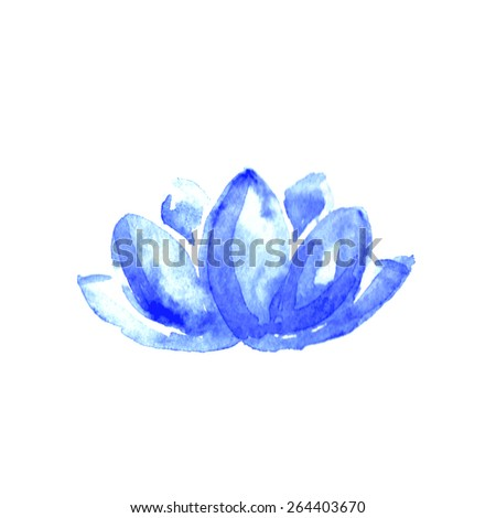 lotus flower watercolor art vector illustration yoga or spa concept - stock vector