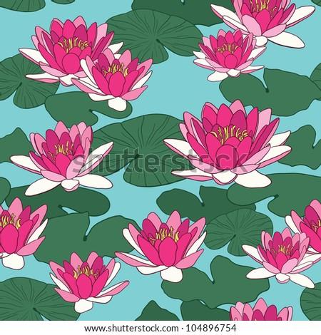 Lotus flowers in seamless pattern - stock vector