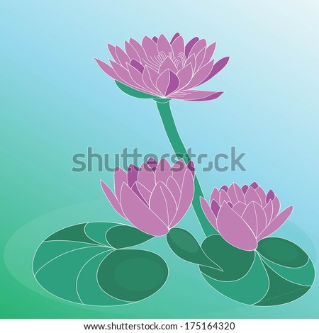 Lotus flowers on green background with gradient. Hand drawn vector art