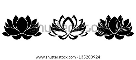 Lotus flowers silhouettes. Set of three vector illustrations. - stock vector