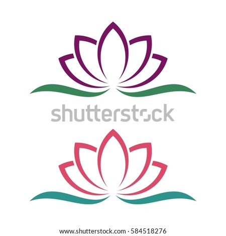 lotus lily flower logo template stock vector   shutterstock, Beautiful flower