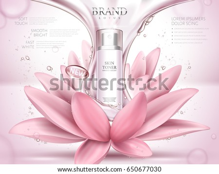 lotus skin toner ad contained in bottle, with glossy fluid and lotus flower elements, pink background 3d illustration
