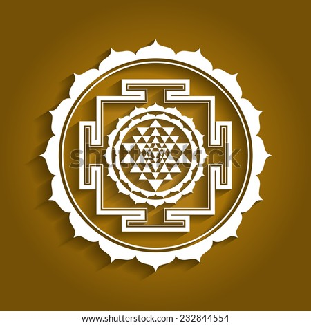 Lotus Sriyantra Design - stock vector