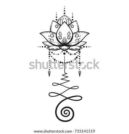 lotus tattoo hand drawn isolated vector stock vector
