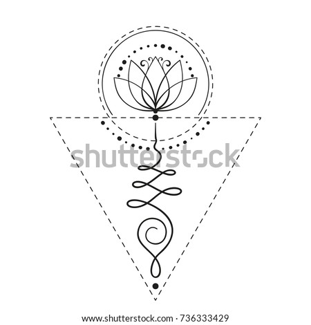Lotus Tattoo Unalome Sacred Geometry Symbol Stock Vector 2018
