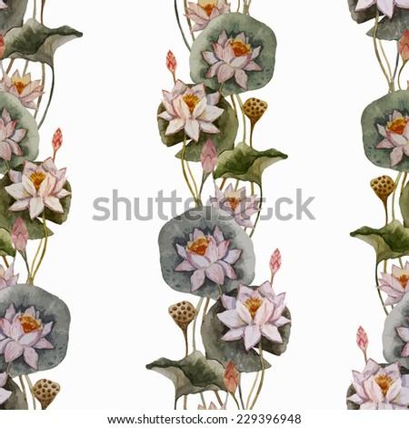 lotus wallpaper, watercolor - stock vector