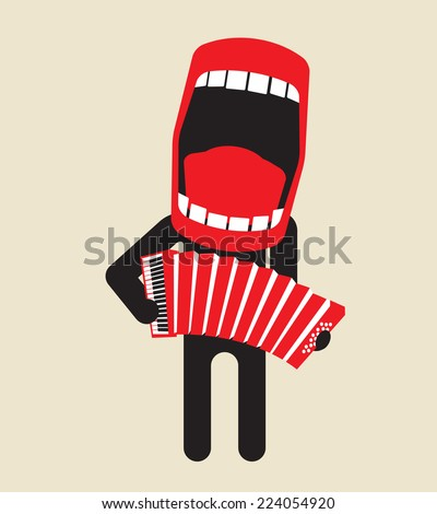 loud singing accordion player - stock vector