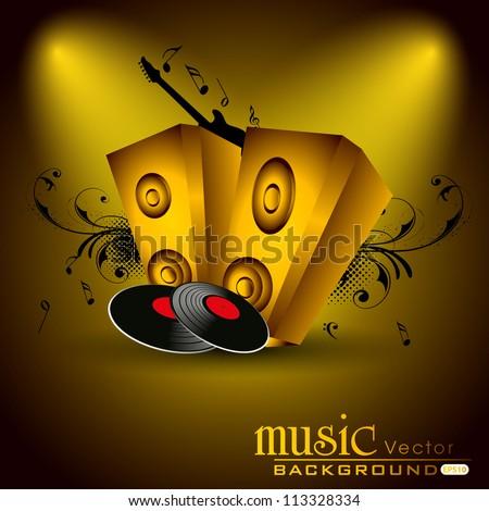 Loud speakers on golden background. EPS 10. - stock vector