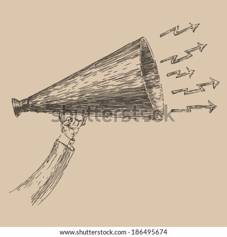loudspeaker engraving style, hand drawn - stock vector