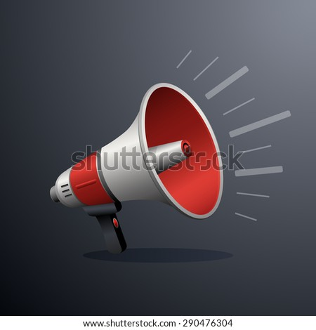 Loudspeaker or megaphone icon isolated on white background. Symbol of social media or promotion or online marketing. Vector illustration - stock vector