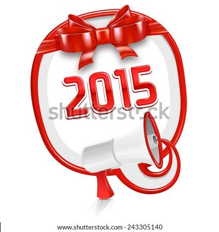 Loudspeaker speech balloon: 2015 - stock vector