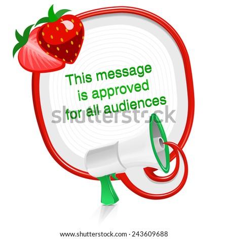 Loudspeaker speech balloon fresh strawberry message - stock vector