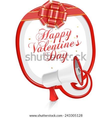 Loudspeaker speech balloon: Happy Valentine's Day! - stock vector