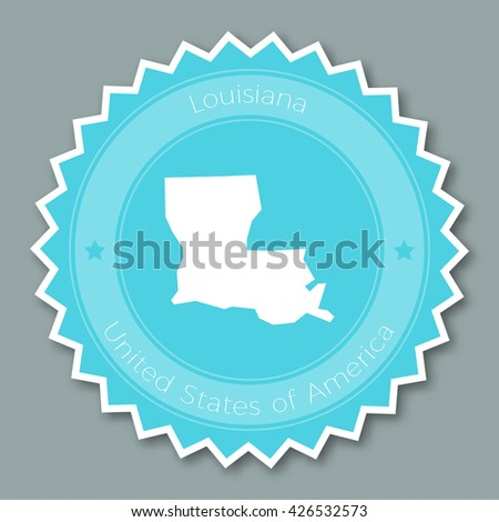 Louisiana Badge Flat Design Round Flat Style Sticker Of Trendy Colors With The State Map