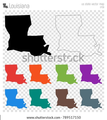 louisiana high detailed map isolated black us state outline vector ilration