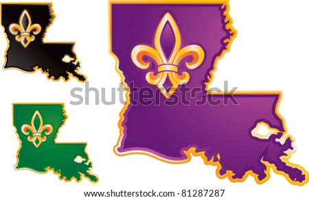 Louisiana state icons in purple, black, and green on white background - stock vector