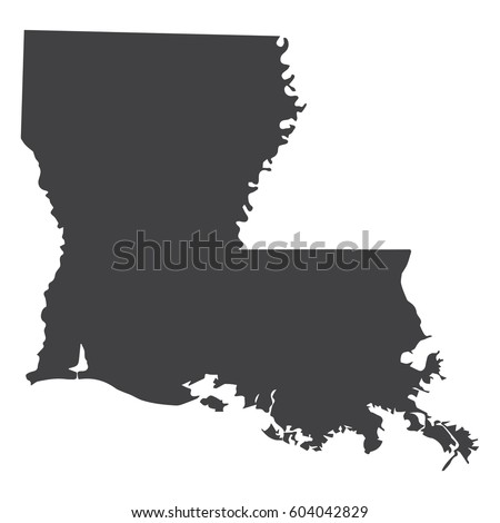 louisiana state map black on white stock vector 604042829