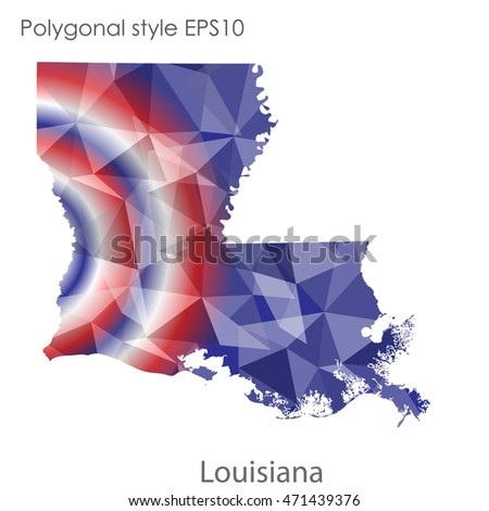 Louisiana State Map Geometric Polygonal Style Abstract Stock Vector ...