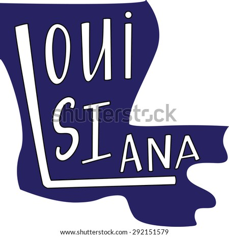 Louisiana State Outline Hand Lettering Stock Vector ...