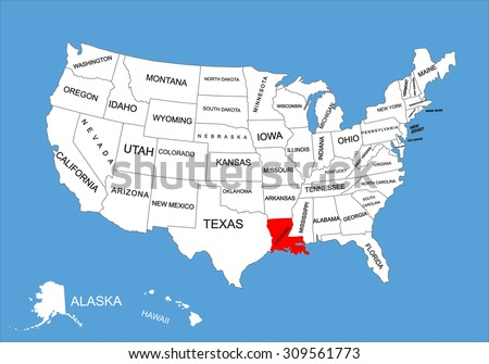 Louisiana State Usa Vector Map Isolated Stock Vector - Louisiana on usa map
