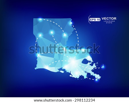 Louisiana US state map polygonal with spotlights places - stock vector
