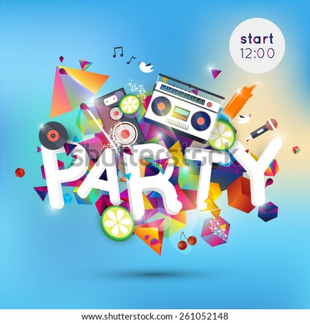 Lounge bar party poster. Cocktails party background. Summer poster. All Night Party design template with place for text.  - stock vector