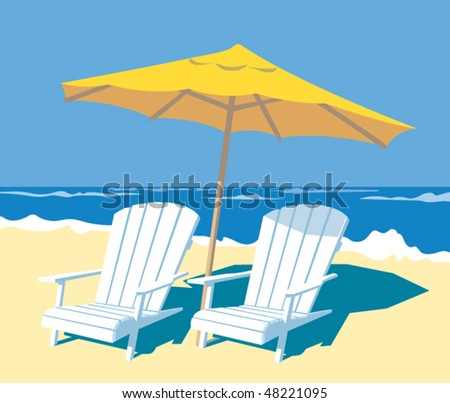 Lounge chairs and parasol on the beach. - stock vector