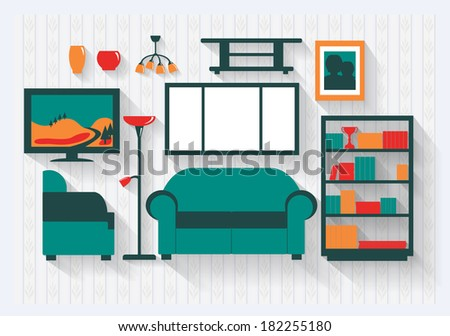 Lounge or Sitting Room in House with Bookcase Furniture and Fittings Long Shadows  - stock vector